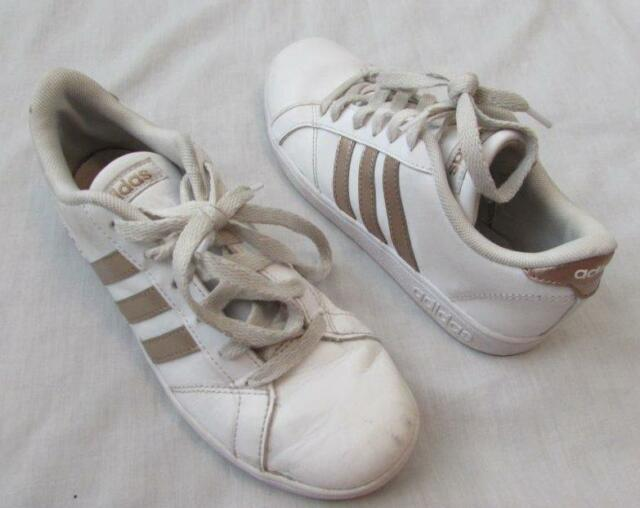 ADIDAS girls youth sz 4 white gold copper metallic stripes NEO shoes sneakers