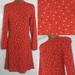 NEW-M-amp-S-Marks-amp-Spencer-Ladies-Red-Heart-Print-Jersey-Swing-Tea-Shift-Dress-6-24