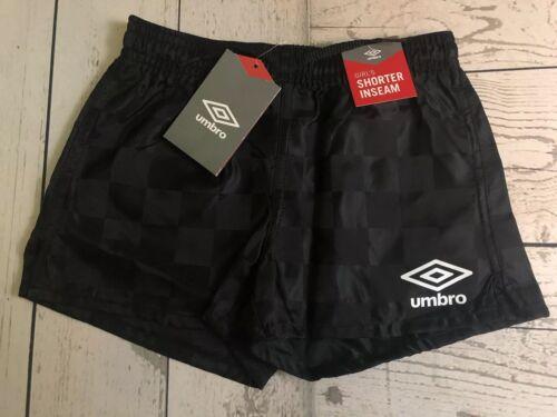 NEW Umbro Soccer Athletic Shorts Black Check Girls Shorter Inseam XS 6-8