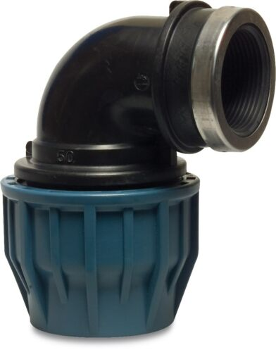 Adaptador hembra x codo de compresión para MDPE Pipa De Agua 20mm a 110mm
