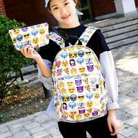 Women's Travel Backpack Cute Emoji Shoulder Bag School Rucksack Handbag Satchel