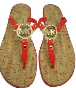 889377ce42dc8 MICHAEL KORS ORANGE Gold MK Logo Charm Jelly Cork Flip Flop Sandals ...