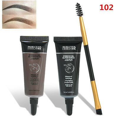 2PCS Waterproof Brown Tint Eyebrow Henna With Mascara + Eyebrows Paint Brush