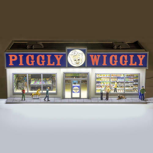 Lighted PIGGLY WIGGLY® GROCERY STORE w Power Supply for O Gauge Train Display