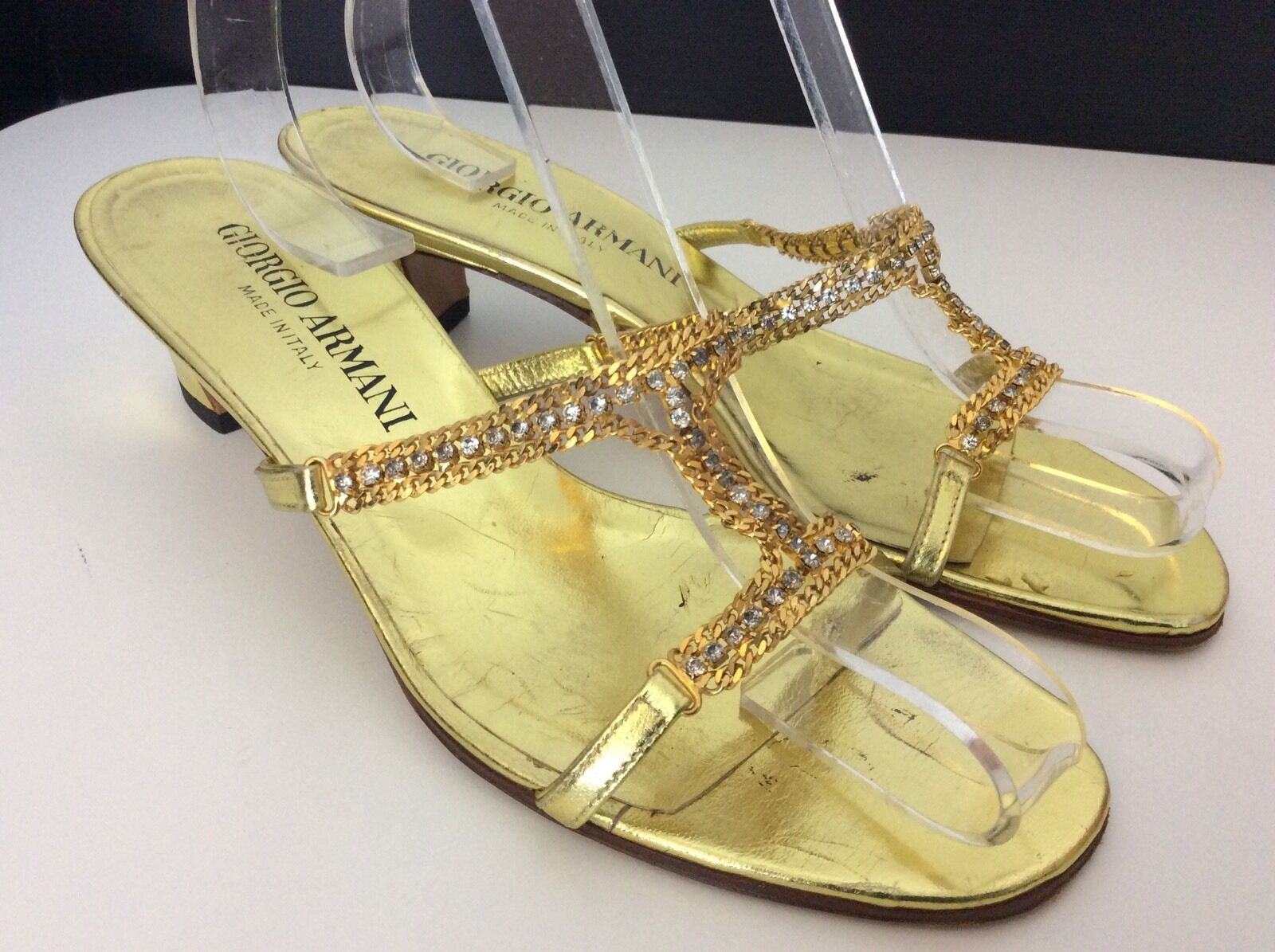 Giorgio armani gold Patent Leather Sling Back shoes Heels Size 36 Uk 3 Stones Di