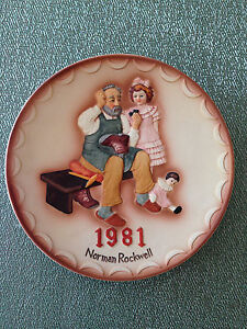 Norman Rockwell 1981 Official First Collectors Club Plate The Shoemaker Nice! |