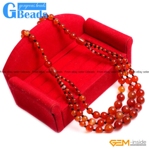 "Handmade 8-12mm Gemstone Beaded Fashion Long Necklace For Women 19""Free Shipping"