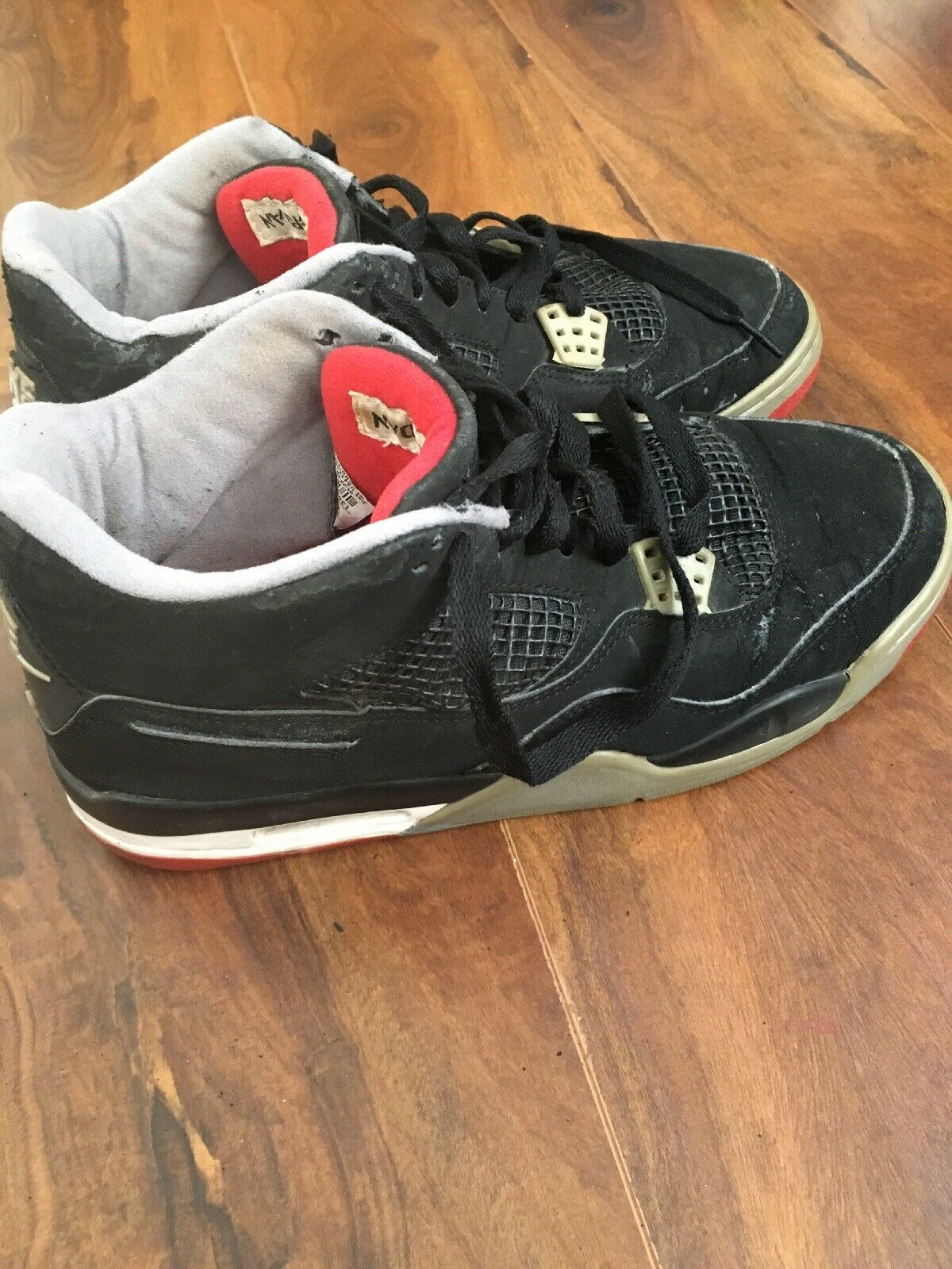 1999 Retro Nike Air Jordan Bred IV Black Red 4 Size 11