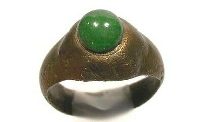 AD100 Roman Carthage (Tunisia) Ring Sz6 + Antique 19thC 2¼ct+ Green Agate Russia