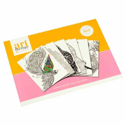 Pack Of 6 Art Therapy Birds Anti-Stress Mindfulness Colouring Posters 30x40cm