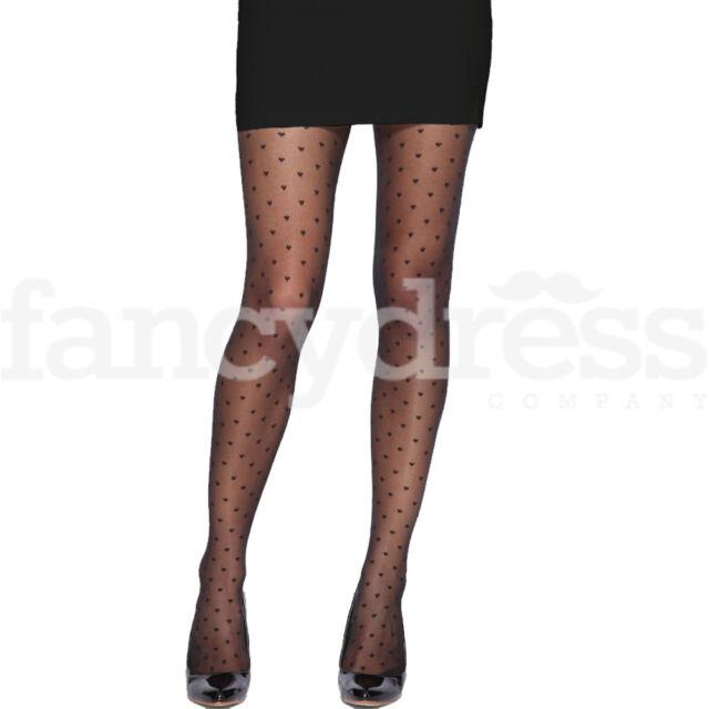 Damen Herz Muster schwarz 20 den Strumpfhose Sheer Kostüm Accessoire NEU