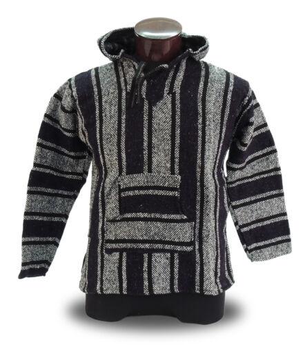 225 Baja Hoodie Jacket Hippie Hobo Mexico Outdoor Pullover Casual Al Sizes Black