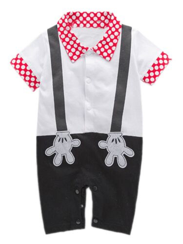 2T-3T 12-18m 18-24m Baby Boy Bowtie Cartoon Photo Prop Romper 6-12m