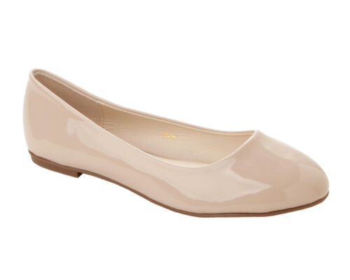 WOMENS NUDE PATENT FLAT DOLLY BALLET PUMPS BALLERINA SHOES LADIES UK SIZE 3-8