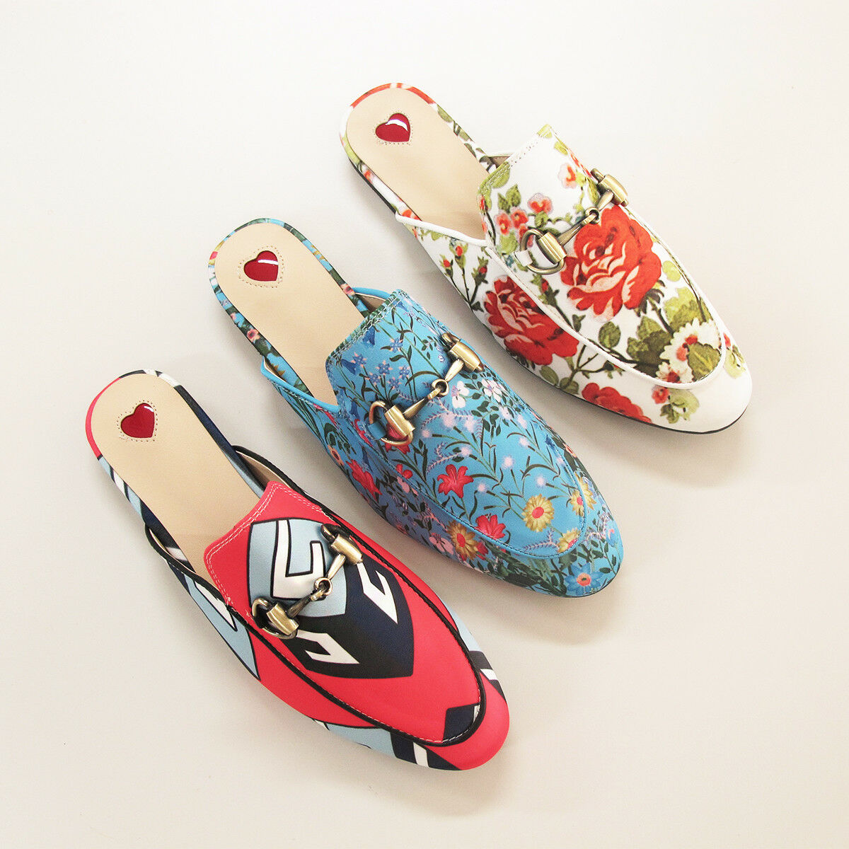 Horsebit Floral / Geometric Printed Slippers Princetown Slide Backless Loafers Slippers Printed 4428c7