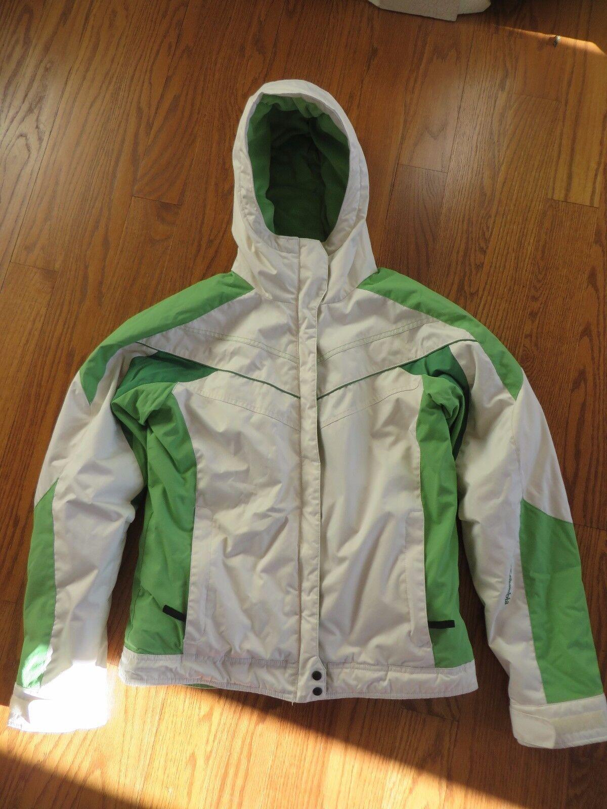 Chaqueta de invierno impermeable con capucha Columbia Girls Green Off White para jóvenes 18/20 EUC