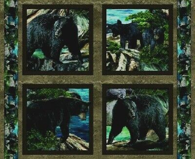 Timeless Treasures ~ Realistic Black Bears Cubs ~ 100/% Cotton Quilt Fabric BTY