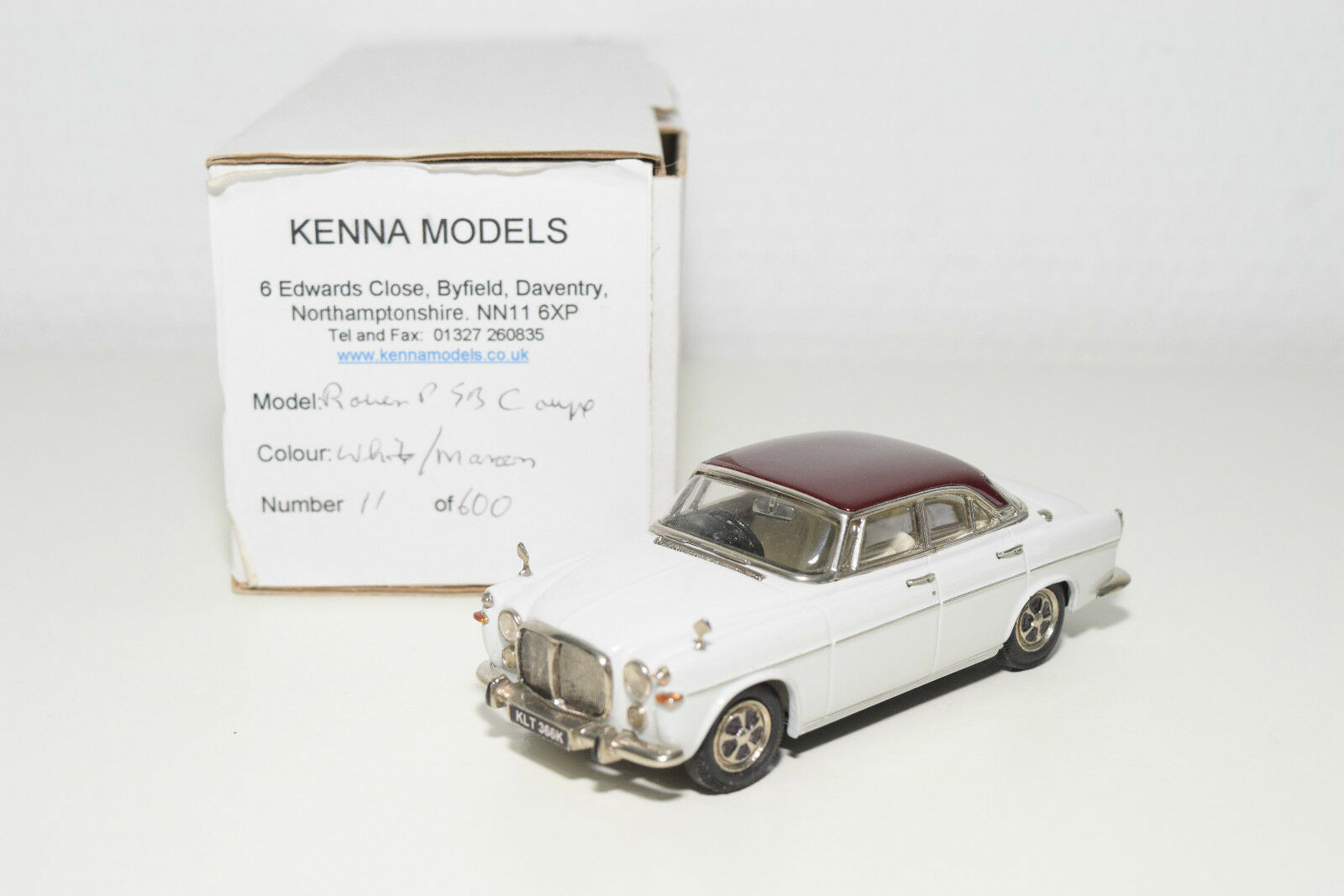 . KENNA MODELS ROVER P5B COUPE Blanco MAROON MINT BOXED RARE SELTEN 11/600