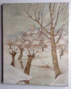 Tableau-ancien-Impressionniste-Paysage-Effet-de-neige-Huile-signee