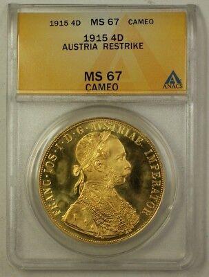1892 Austria Ten Franc 10FR Gold Coin Restrike ANACS MS-66 A