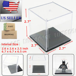 Clear Acrylic Plastic Display Box Case Perspex Dustproof Protection Toy Cube 7cm