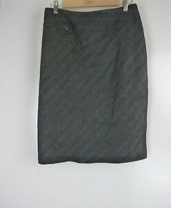 VERONIKA-MAINE-Pencil-skirt-Sz-10-Black-grey-check-print-Exposed-zips-Wool-mix