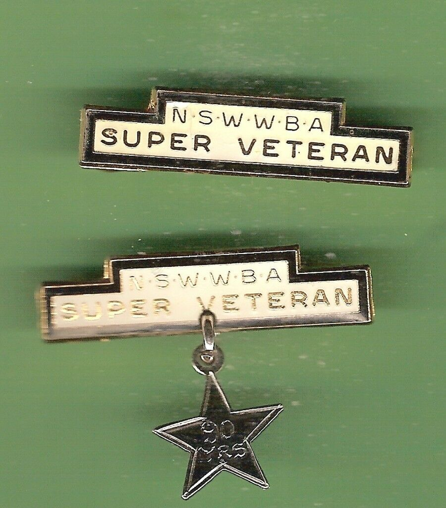 D96. RARE BOWLS BADGES - NSWWBA SUPER VETERAN & ANOTHER WITH 90 YEARS STAR