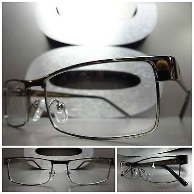 New SLEEK CONTEMPORARY MODERN Clear Lens EYE GLASSES Cool Gunmetal Fashion Frame