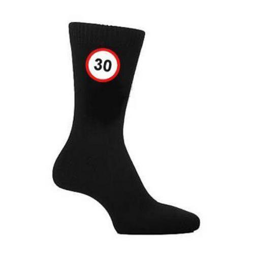 30 Mph Road Sign Speed Limit Nero Calzini Trentesimo Compleanno Regalo Novità Uk 5-12