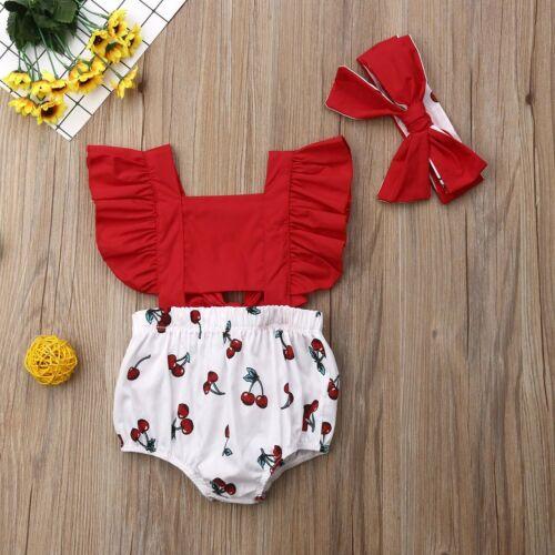 2pcs Newborn Baby Girl Ruffle Cherry Print Bodysuits Headband Sunsuit Outfits Su