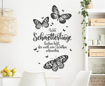 Wandtattoo Wer Schmetterlinge Lachen Hort Spruch Wandaufkleber Tattoo Ws24s Ebay