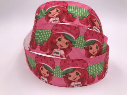 """Hágalo usted mismo de 5 de yarda 1/"""" Strawberry Chica Estampado de Cinta de Grogrén Cabello Moño Cinta De Costura"""