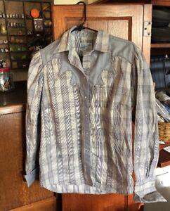 bc6f548a71 ROCKMOUNT RANCH Wear Tru West Western Pearl Snap Shirt Men s Blue ...