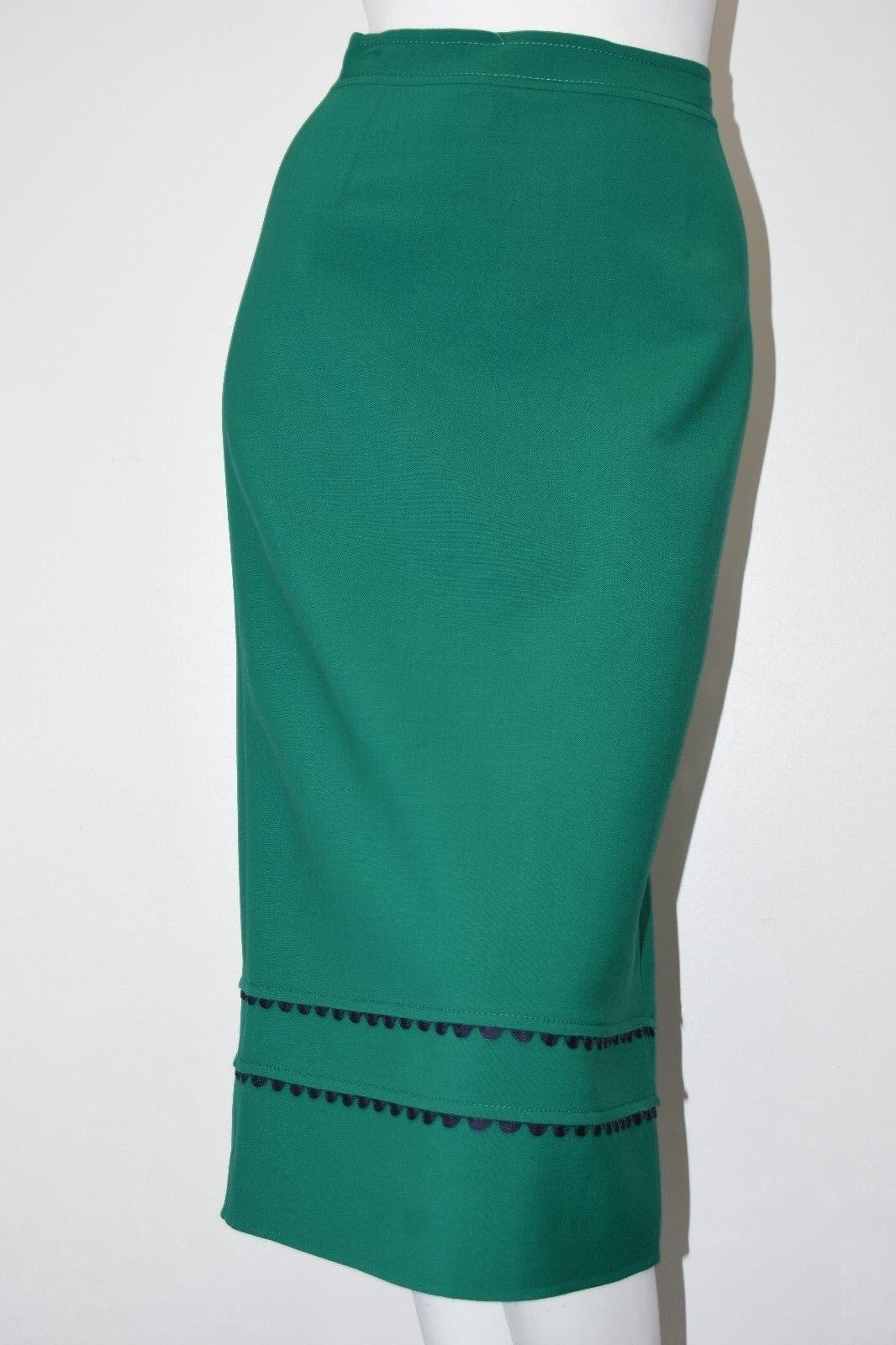 NEW 17 Pre FALL Oscar de la Renta Green Emerald MIDI Skirt Pencil Navy Trim 0 2