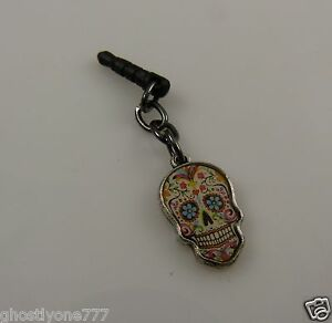Day-of-dead-skull-cell-phone-or-fits-Ipad-charm-ear-cap-dust-plug-gothic-goth