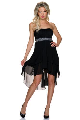 Damen Bandeau Kleid Cocktailkleid Spitze High low S 34 36 Party Abi Hochzeit neu