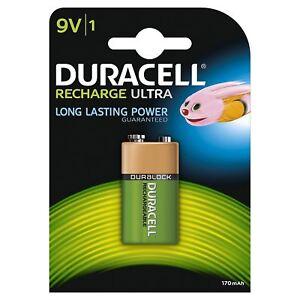 éNergique 1 X Duracell 9 V Bloc Pp3 170 Mah Rechargeable Piles Hr22 6lr61 Hr9v Dc1604-afficher Le Titre D'origine Belle Et Charmante