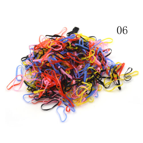 500Pcs//Pack Candy Color Elastic Hair Bands Kids Hair Holder Hair Accessories FG