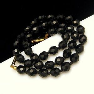 Vintage Choker Statement Necklace Faceted Black Glass Crystal Beads Knotted