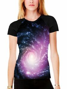 Spiral-Galaxy-Women-039-s-All-Over-Graphic-Contrast-Baseball-T-Shirt