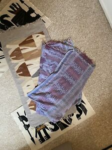 Vintage Purple Blue Pink Serape Ikat Southwet Print Blanket 70 x 82