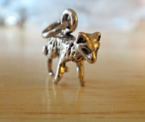 Sterling Silver 3D 13x16mm Grey Gray Artic Red Fox Wolf Charm