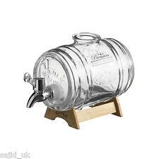 Kilner 1L Vidrio espíritus Licor Bebidas Dispensador de barril de agua con Soporte De Madera