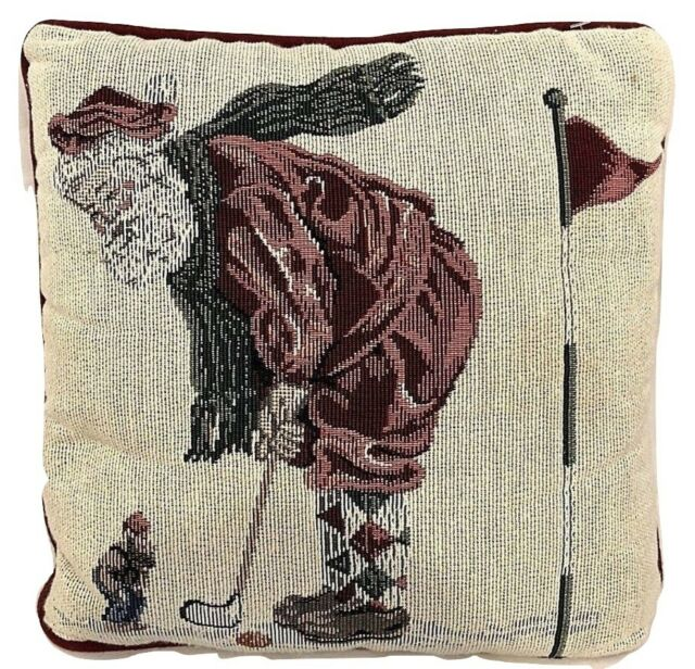 Santa Claus Golfing w Cookie Needlepoint Throw Pillow Red Back 12