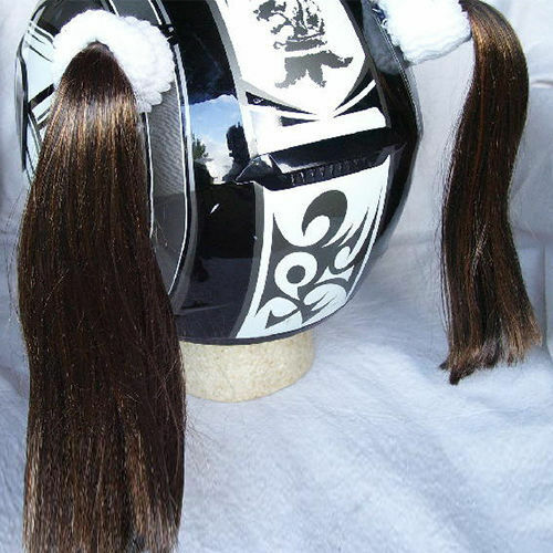Brown Ladies Helmet Pigtails w// Free Wristband Works On Any Motorcycle Skate