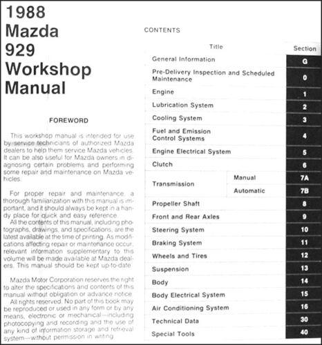 1988 Mazda 929 Shop Manual 88 Original Repair Service Book OEM