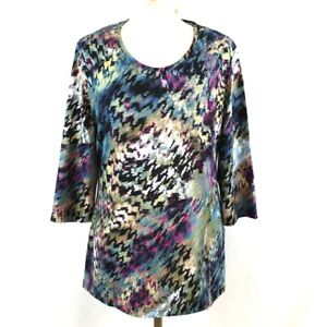 Tunic-Women-14-Top-Multicoloured-3-4-Sleeve-Long-Scoop-Neck-Casual-Hippie-Winter