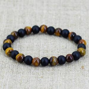 Fashion-Women-Men-Tiger-Eye-Matte-Onyx-Mala-Stone-Yoga-Beaded-Bracelets-Energy