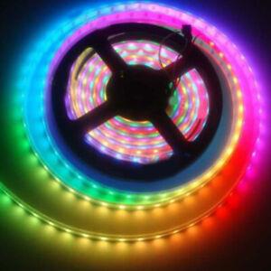 5050-RGB-LED-Strip-5M-300-LED-12V-Nastro-flessibile-striscia-luminosa-bianco-nero-TLX
