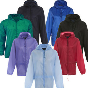Unisex-Plain-Rain-Coat-Mac-Kagoul-Jacket-Water-Proof-Hooded-Cagoul-Adults-Pac-UK